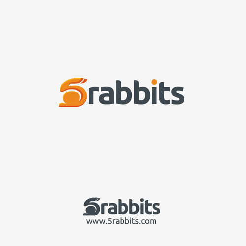 Rabbit logo with the title 'Logo design for 5rabbits.com'