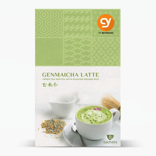 Sustainable packaging with the title 'A JAPANESE GenMaiCha Latte retail Box for the premium Class'