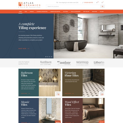 Home website with the title 'Website for ceramics store'