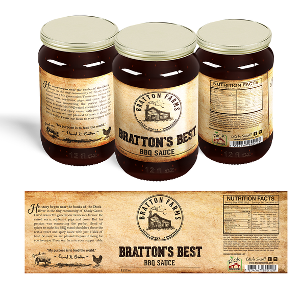 BBQ label with the title 'Bratton's Best BBQ sauce'