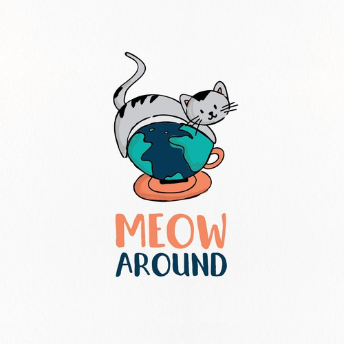 Cat logo with the title 'Fun hand drawn cat cafe logo'