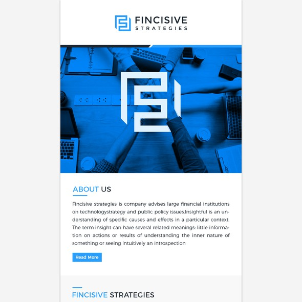 Newsletter design with the title 'Mailchimp Template for FinTech Advisor'