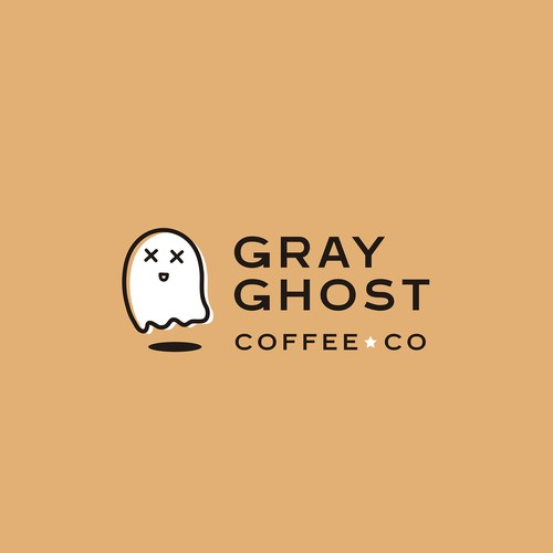Spooky logo with the title 'Logo proposal for Gray Ghost Coffee Co'