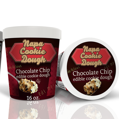 Ice cream label with the title 'Create package labels for gourmet edible cookie dough for Napa Cookie Dough'