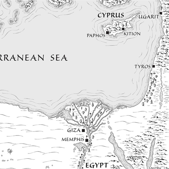 Novel artwork with the title 'Map for Fantasy Novel'