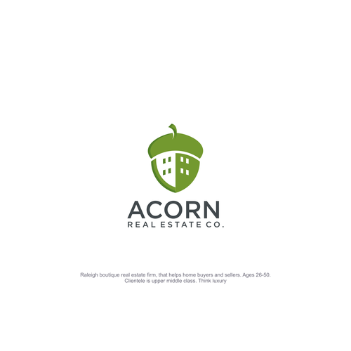Acorn logo with the title 'ACCORN REAL ESTATE LOGO'