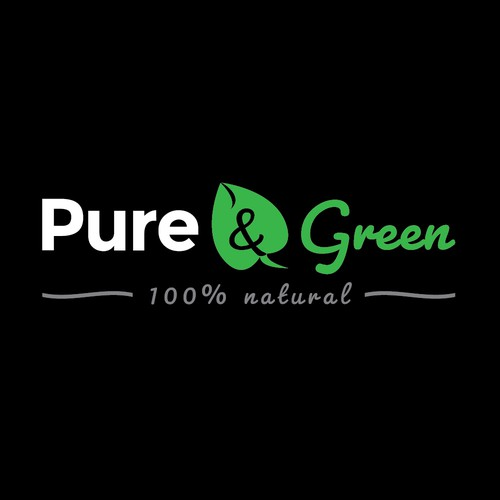 Leaf label with the title 'Pure & Green product label design '