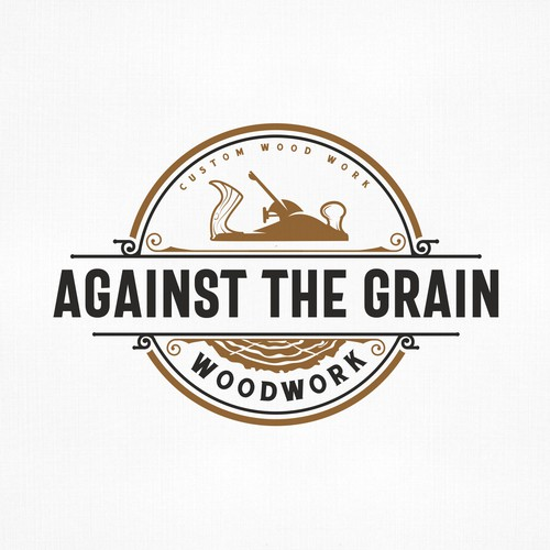 Modern vintage design with the title 'Against the Grain Woodwork'
