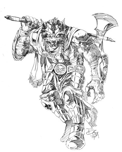 Wolf illustration with the title 'Werewolf warrior'