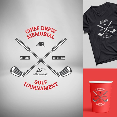 Firefighter logo with the title 'Chief Drew Memorial Golf Tournament'