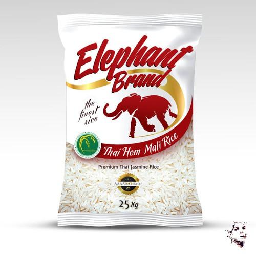 Rice design with the title 'Design for premium rice Season Co'