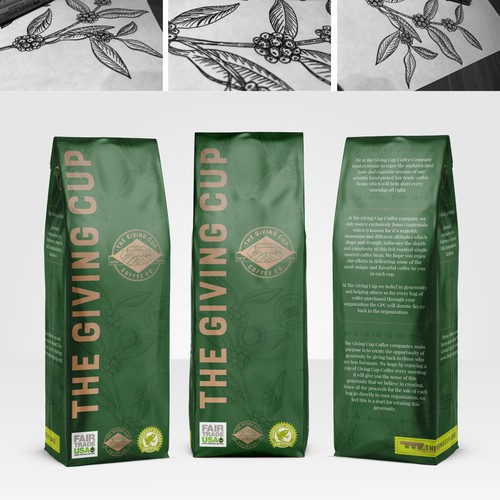 Illustration packaging with the title 'Coffee packaging'