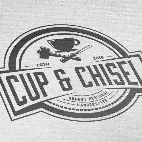 Gold frame logo with the title 'Badge design for Cup & Chisel'
