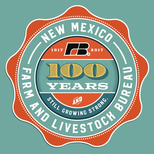 Historical design with the title 'New Mexico Farm & Livestock Bureau 100 year logo'