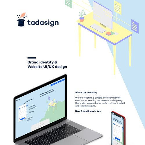 Isometric design with the title 'Tadasign Brand Identity and website design'