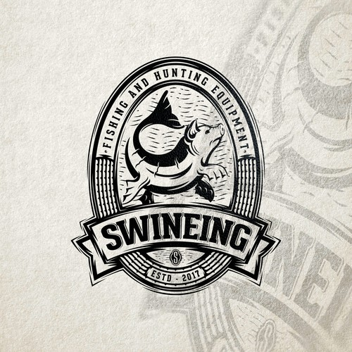 Fishing logo with the title 'Retro, but whimsical logo for Swineing'