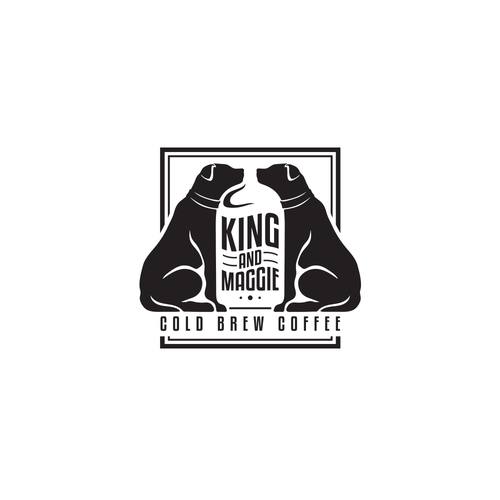 Single-color logo with the title 'King and Maggie Cold Brew Coffee Logo'