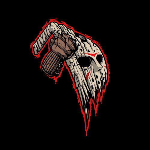 Hockey design with the title 'Halloween / Friday the 13th Inspired Hockey Team Logo'