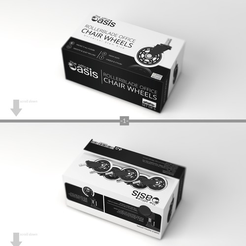 3D packaging with the title 'Asis Chair wheel box design'