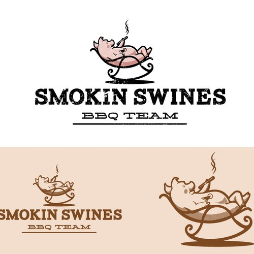Cow, pig, and chicken logo with the title 'smokin swines'