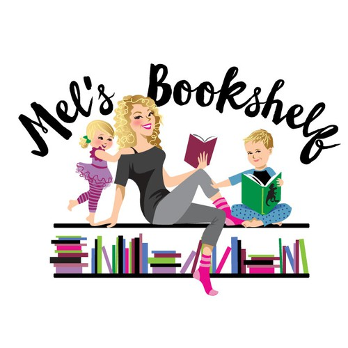 Mother and child design with the title 'mel's bookshelf illustration'