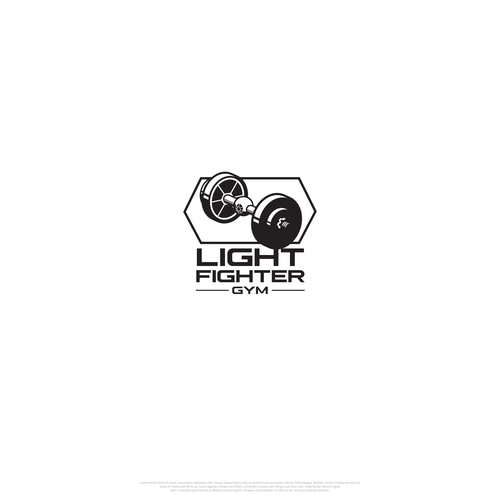 Dumbbell design with the title 'Light Fighter Gym'