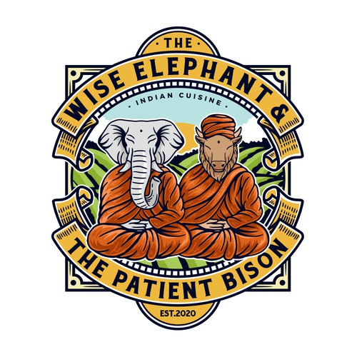 Monk design with the title 'The Wise Elephant & The Patient Bison'
