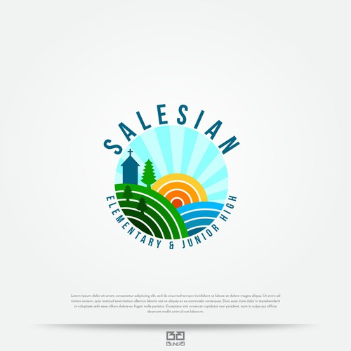 Sun and sea logo with the title 'Logo concept for school.'