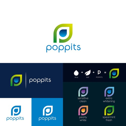 Toothpaste logo with the title 'Poppits'