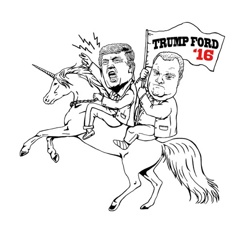 Humorous design with the title 'Donald Trump & Rob Ford Riding a Unicorn'