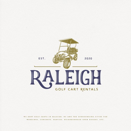Golf design with the title 'Raleigh Golf Cart Rentals'