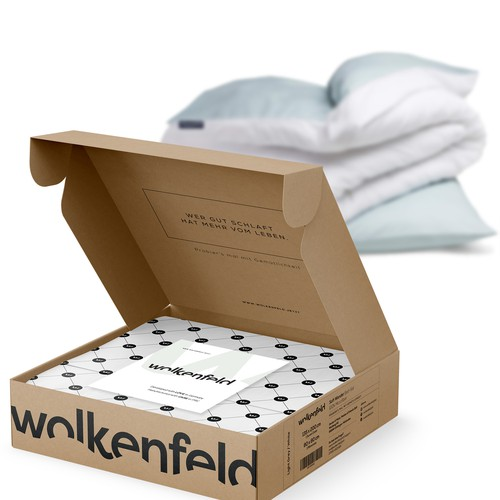 Pillow design with the title 'WOLKENFIELD - E-COMMERCE - Organic cardboard packaging design'