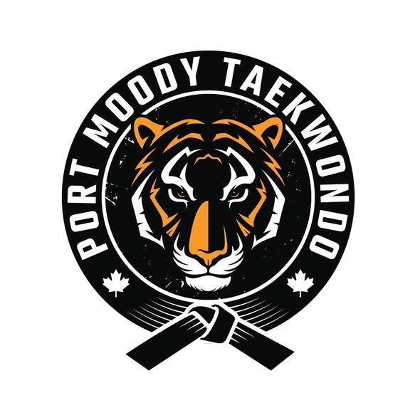 Taekwondo logo with the title 'Taekwondo academy logo'