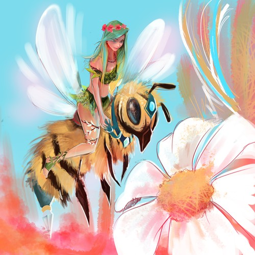 Fairy illustration with the title 'the fairy and the bee'