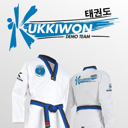 Uniform design with the title 'Taekwondo Uniform - Kukkiwon Demo Team'