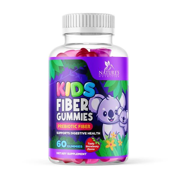 Kids label with the title 'Kids Fiber Gummies Label Design for Nature's Nutrition'