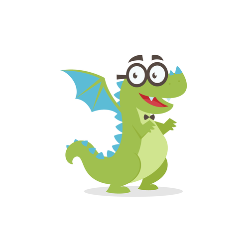 Dragon artwork with the title 'Friendly & Nerdy Dragon Mascot for TeamGantt'
