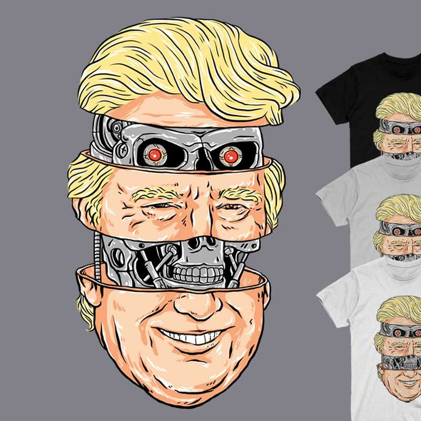 Parody t-shirt with the title 'Donald Trump is a Terminator under the skin'