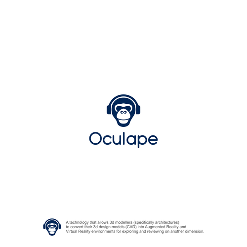 Headset design with the title 'Logo for AR/VR tech company - Oculape'