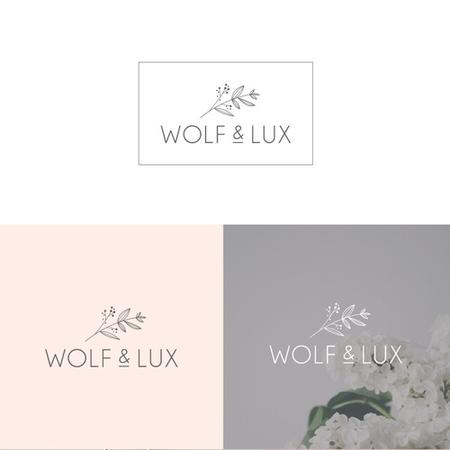 Delicate logo with the title 'feminine logo design for Wolf & Lux candle and skincare brand'