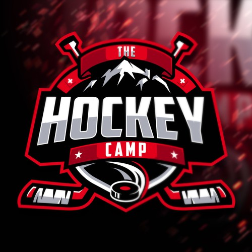 Red logo with the title 'THE HOCKEYCAMP'