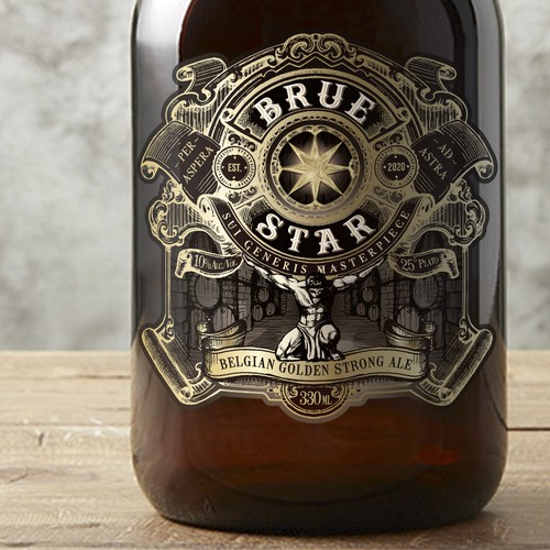 Distillery label with the title 'Beer label'