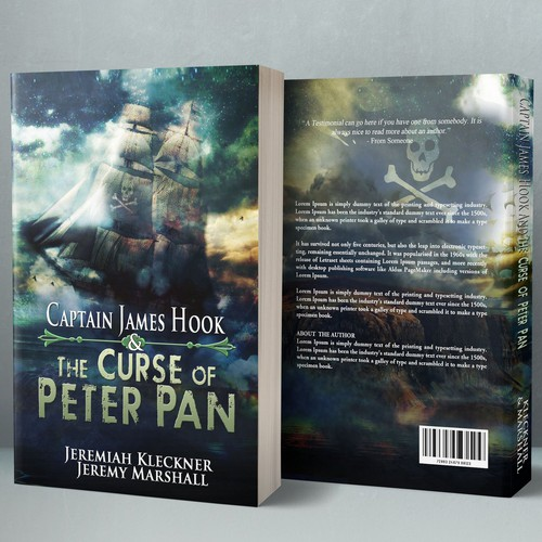 Fiction book cover with the title 'Captain James Hook & The Curse of Peter Pan'