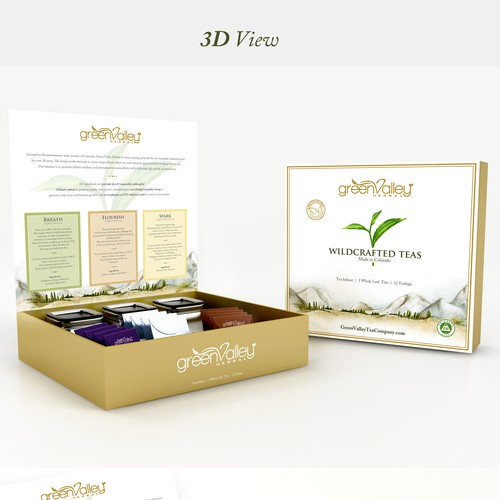 Gift box design with the title 'Packaging Design for Green Valley Tea Gift Set'
