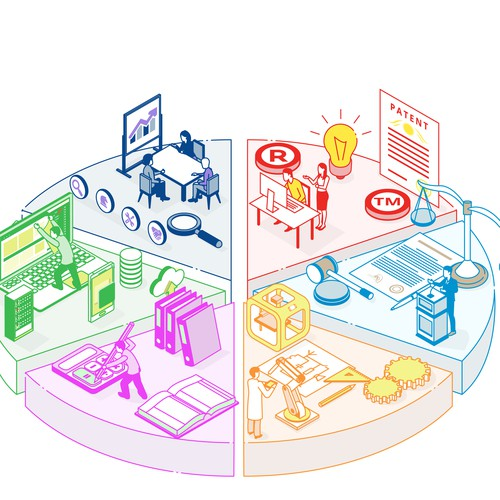 Line illustration with the title 'Isometric Line art'