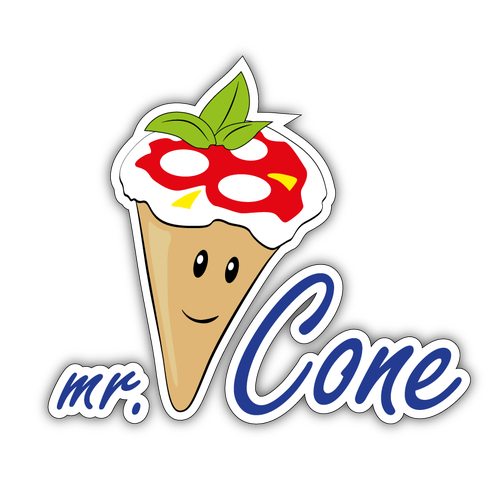 Cone logo with the title 'Cone pizzeria logotype'