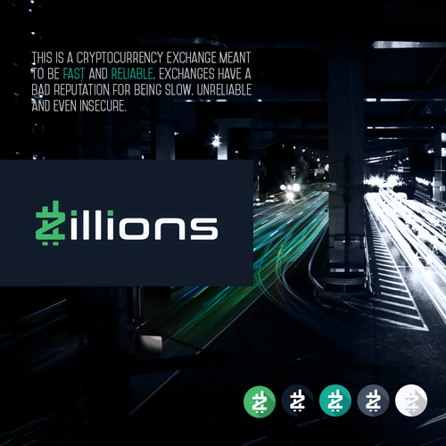 Exchange logo with the title 'Zillions Logo Design'