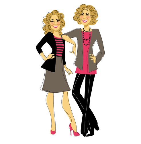 Women illustration with the title '2 Real Estate Women Caricatures'
