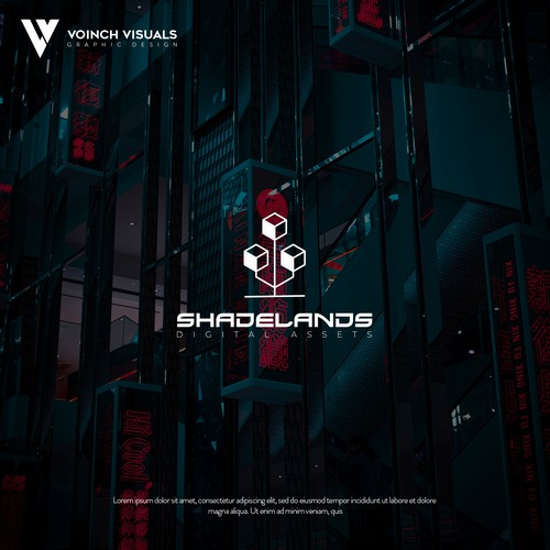 Cyberpunk logo with the title 'Shadelands logo concept'