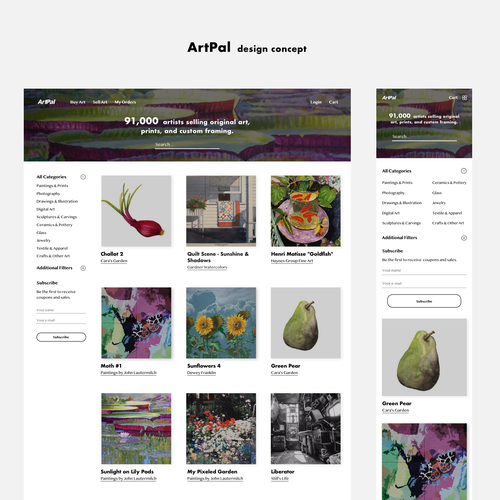 Desktop website with the title 'ArtPal design concept'